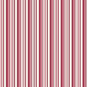Buxton (Cotton) - 2 - Repeated stripes of red and salmon pink printed on cotton fabric in white