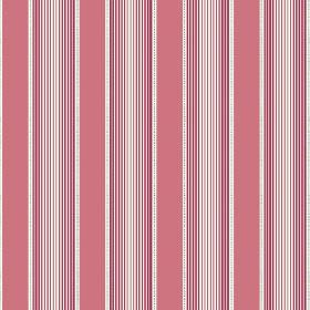 Cheltenham (Cotton) - 2 - Wide dusky pink stripes between narrow lines fading through red and pink shades, on a background of white cotton f
