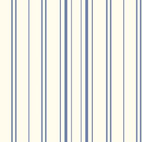 Llandridod (Linen Union) - 1 - A design of denim blue coloured lines printed with uneven spacing across linen fabric in white
