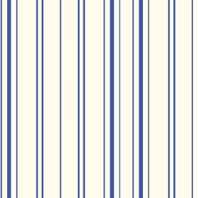 Llandridod (Cotton) - 5 - Dark blue lines printed on a white cotton fabric background