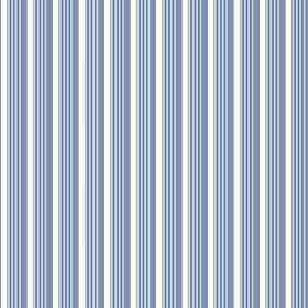Lemington (Cotton) - 1 - White cotton fabric featuring a striped design in two different shades of blue which gives a three dimensional effe