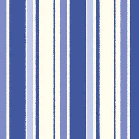 Aix An Provence (Cotton) - 5 - White cotton fabric featuring a design of differently spaced stripes in bright blue, blue-purple and light bl