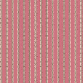 Padua (Cotton) - 2 - Light brown-grey stripes which appear to be stitched or have a brick pattern printed on dusky pink cotton fabric