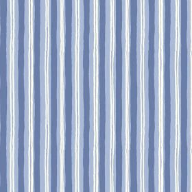 Sochi (Cotton) - 1 - Navy blue and thin white stripes roughly printed down cobalt blue cotton fabric