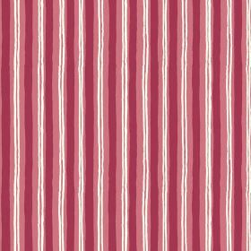 Sochi (Linen Union) - 2 - Red, salmon pink and white stripes printed unevenly down fabric made from linen