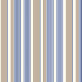 Taupo (Linen Union) - 5 - Different shades of blue, light brown and white making up the colours for a striped pattern printed onto linen fab