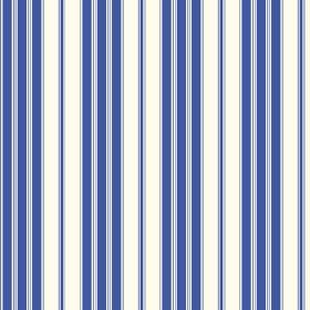 Vichy (Cotton) - 5 - White cotton fabric printed with a repeated design of both wide and narrow Royal blue stripes