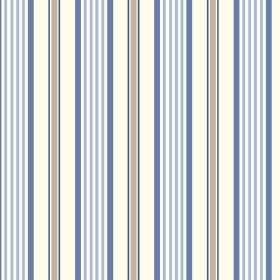Woodhall (Cotton) - 1 - An even pattern of grey, denim blue, light blue and white stripes on fabric made from cotton