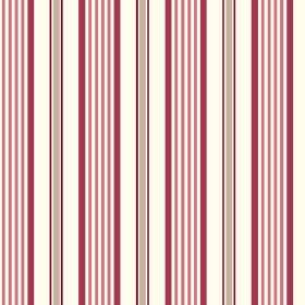 Woodhall (Cotton) - 2 - Raspberry red, dusky pink, grey and white stripes repeatedly printed on white cotton fabric