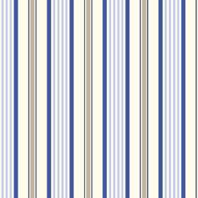 Woodhall (Linen Union) - 5 - Stripes in two different shades of blue, plus grey and white, printed in a repeated pattern on fabric made from