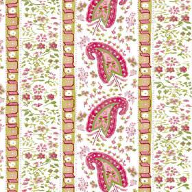 Dharamsala Stripe (Linen Union) - 1 - A pattern of pink, green and white paisley shapes, flowers and geometric shapes arranged in rows on li