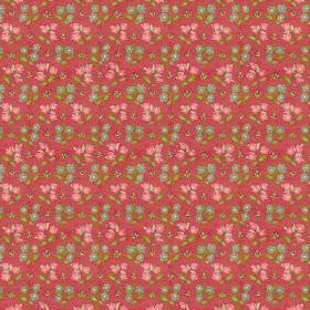 Dharamsala Flower (Linen Union) - 3 - Green flowers, leaves and pink flowers printed on a raspberry coloured linen fabric background