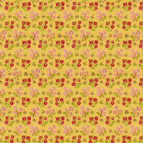 Dharamsala Flower (Linen Union) - 4 - Mustard coloured linen fabric with a small floral design with rows of dark pink and light pink flowers