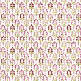 Dharamsala Tree (Cotton) - 1 - Rows of tiny flowers printed on a white cotton fabric background in different shades of pink and green