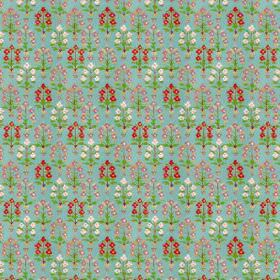 Dharamsala Tree (Linen Union) - 2 - Linen fabric in turquoise, patterned with rows of tiny flowers in red and white, with green leaves