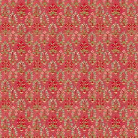 Dharamsala Tree (Linen Union) - 3 - A busy floral pattern in green-grey, pink and bright red, on a dusky red linen fabric background