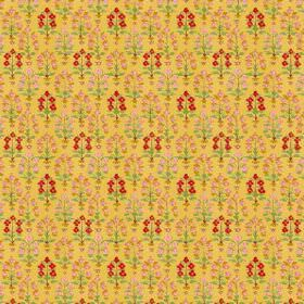 Dharamsala Tree (Cotton) - 4 - Pink and bright red flowers with green leaves arranged in rows over cotton fabric in a mustard yellow colour