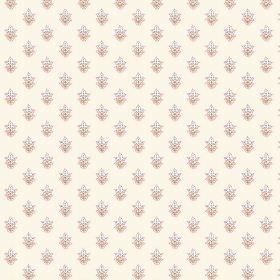 Simla Motif (Cotton) - 1 - Fabric in off-white cotton, with a repeated pattern of miniscule florals in pastel colours