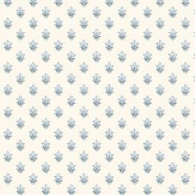 Simla Motif (Cotton) - 2 - Clusters of tiny light blue flowers printed repeatedly on white cotton fabric