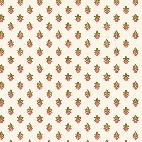 Simla Motif (Cotton) - 3 - White cotton fabric patterned with rows of green and dark red-brown flowers