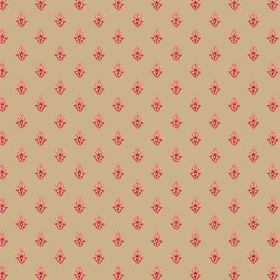 Simla Motif (Linen Union) - 4 - Caramel coloured linen fabric printed with a small, repeated pattern in red and salmon pink
