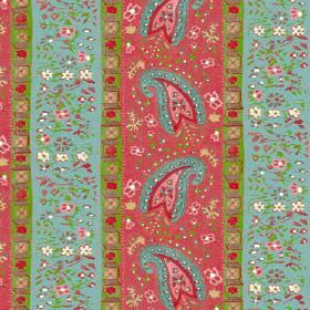 Dharamsala Stripe (Cotton) - 2 - Rows of turquoise, red, pink, green and cream flowers, paisley shapes and geometric shapes printed on cotto