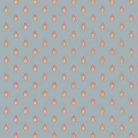 Simla Motif (Linen Union) - 5 - Linen fabric in dusky blue, printed repeatedly with tiny dusky pink and cream flowers