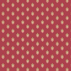 Simla Motif (Linen Union) - 6 - Rows of caramel and salmon pink coloured flowers patterning linen fabric in deep red
