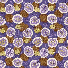 Bagheera (Linen Union) - 1 - Bright purple fabric in linen as a background for purple, white, cream-yellow and yellow-purple flowers and lea