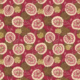 Bagheera (Cotton) - 2 - Brown and beige leaves printed with cream and dusky red leaves on a background of deep red cotton fabric