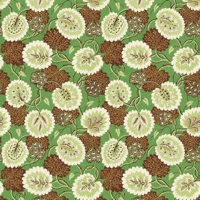 Bagheera (Linen Union) - 3 - Linen fabric in apple green, printed with a repeated pattern of unusual brown, cream and green leaves and flowe