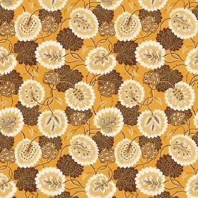 Bagheera (Cotton) - 4 - Pumpkin coloured cotton fabric printed with a pattern of leaves and flowers in brown, gold and cream