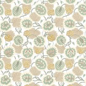 Bagheera (Cotton) - 5 - A pattern in pale shades of green, gold and beige, printed on a white cotton fabric background