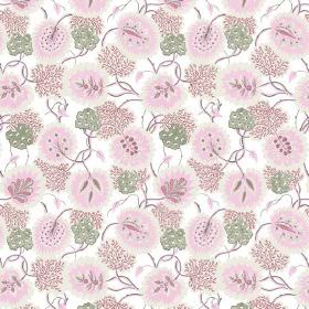 Bagheera (Cotton) - 6 - White cotton fabric as a background for a delicate design with florals and leaves in pale pink and green colours
