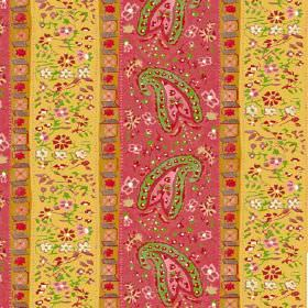 Dharamsala Stripe (Cotton) - 3 - Cotton fabric with a pattern of geometric shapes, paisley shapes and small flowers in pinks, greens and yel