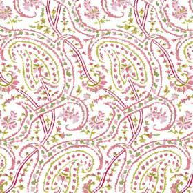 Dharamsala Paisley (Linen Union) - 1 - Fabric made from white linen, patterned with curving lines and dots in pink and green