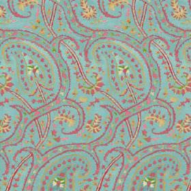 Dharamsala Paisley (Cotton) - 2 - Turquoise cotton fabric covered in a curving, dotted design in pink, green and gold