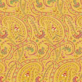Dharamsala Paisley (Linen Union) - 4 - Pink and green swirls, curved lines and dots printed on a mustard yellow linen fabric background