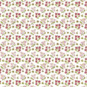Dharamsala Flower (Cotton) - 1 - Ordered rows of tiny dark and light pink flowers with green leaves on white cotton fabric