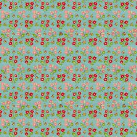 Dharamsala Flower (Cotton) - 2 - Red and pink flowers with green leaves printed in rows on cotton fabric in a turquoise colour