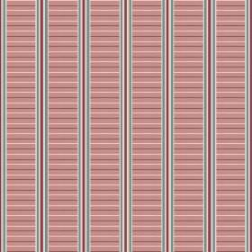 Andrei (Linen Union) - 1 - Bands of horizontal salmon pink stripes between vertical grey, dark red and white stripes, printed on linen fabri