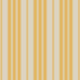 Haven (Linen Union) - 5 - A pattern of mustard yellow stripes repeatedly printed on linen fabric in a stone colour
