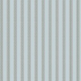 Zigzag (Cotton) - 1 - Pale blue fabric with stripes of blue-grey which appear to be dashed or stitched