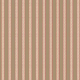 Zigzag (Linen Union) - 4 - Linen fabric in light brown, striped with light red and off-white bands which are patterned with a brick effect