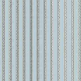 Zigzag (Cotton) - 6 - Grey lines with a stitched effect printed on light blue cotton fabric