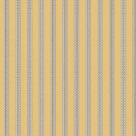 Zigzag (Cotton) - 8 - Gold coloured cotton fabric covered in evenly spaced, vertical, patterned grey stripes