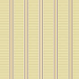 Andrei (Linen Union) - 3 - Linen fabric covered in thin vertical gold, white and brown stripes, with bands of horizontal cream stripes
