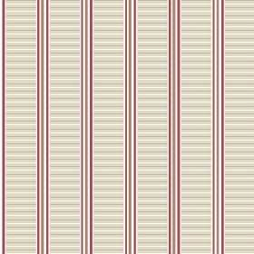 Andrei (Linen Union) - 4 - Off-white, brown and aubergine coloured stripes of different widths running in both ways across fabric made from