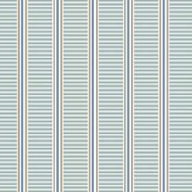 Andrei (Linen Union) - 5 - Duck egg blue, denim blue, grey and white stripes printed in both directions on linen fabric
