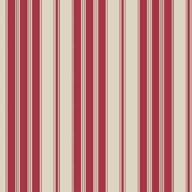 Haven (Linen Union) - 2 - Linen fabric featuring dark red stripes on a stone coloured background